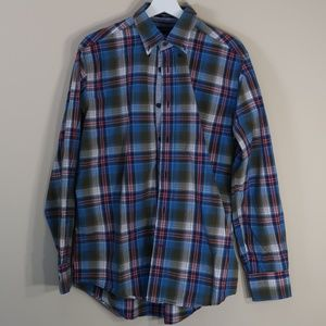 Tommy Hilfiger Plaid Blue Long-Sleeve Button-Up